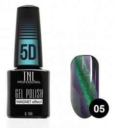 TNL PROFESSIONAL 05 гель-лак для ногтей Кошачий глаз 5D, зеленый-ежевичный 6 мл