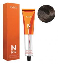 OLLIN PROFESSIONAL 4/13 крем-краска перманентная для волос, шатен пепельно-золотистый / N-JOY 100 мл