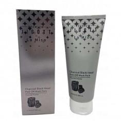 маска-пленка для лица очищающая с углем jigott premium х la miso charcoal black head peel-off mask pack